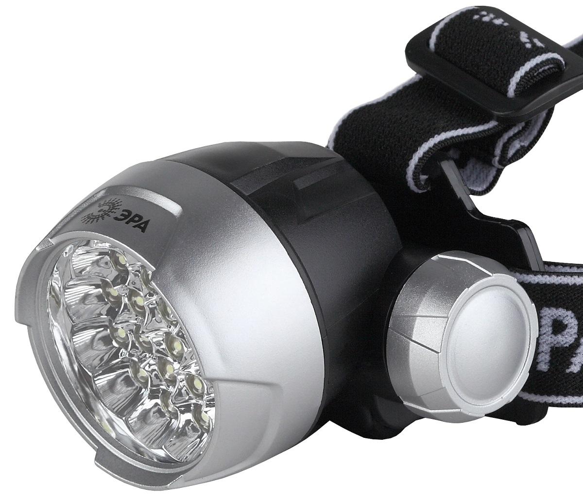 Фонарь налобный ЭРА G25, цвет: серебристый, черный фонарь налобный эра er g1w