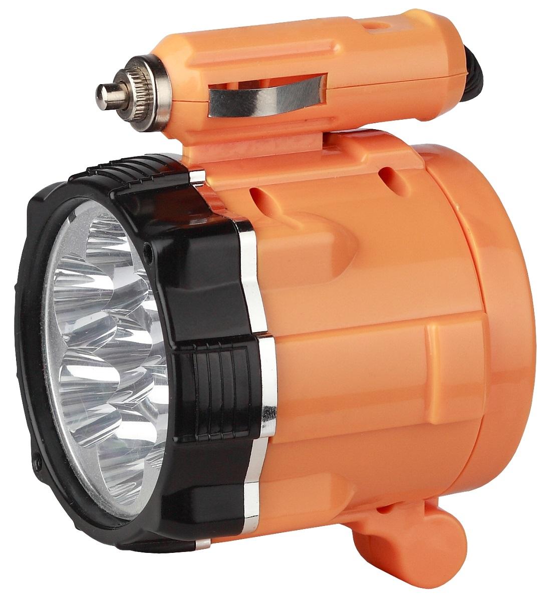 Фонарь ручной Эра A3M, цвет: оранжевый, черныйA3MАвтомобильный осветительный прибор-переноска Эра A3M с семью яркими светодиодными лампами белого цвета LED.Изделие работает от сети автомобиля 12 Вольт.Для более удобного использования фонарь укомплектован трехметровым шнуром питания.Наличие магнита позволяет фиксировать прибор под различными углами.