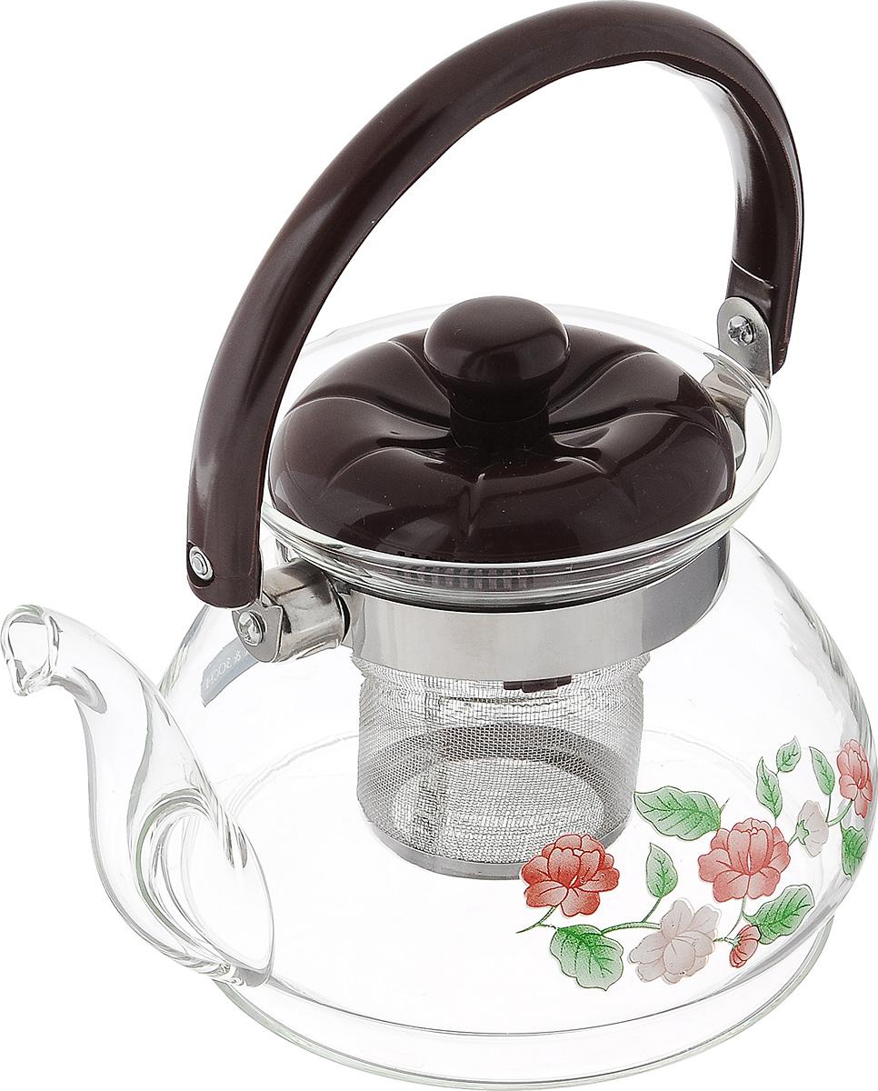 Чайник заварочный Mayer & Boch, с фильтром, 800 мл. 25872587Заварочный чайник Mayer & Boch изготовлен из термостойкого боросиликатного стекла и украшен цветочным рисунком. Внутри изделия установлен сетчатый фильтр из нержавеющей стали, который задерживает чаинки и предотвращает их попадание в чашку. Чайник оснащен удобной пластиковой ручкой. Яркий стильный заварочный чайник эффектно украсит стол к чаепитию и станет его неизменным атрибутом. Диаметр чайника (по верхнему краю): 7 см. Высота чайника (без учета ручки и крышки): 11 см. Высота чайник (с учетом ручки и крышки): 18,5 см.