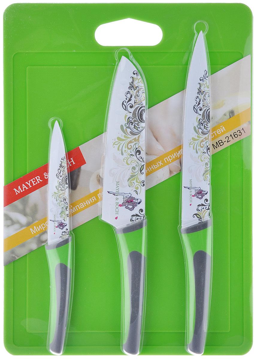 Набор ножей Mayer & Boch, цвет: зеленый, серый, 4 предмета21631_зеленый, серыйНабор ножей Mayer & Boch включает в себя 3 ножа и прямоугольную пластиковую разделочнуюдоску. Ножи выполнены из нержавеющей стали 3cr14 со специальным покрытием non-stick,которое не позволяет нарезаемым продуктам прилипать к лезвию. Ножи декорированы красивымцветочным узором, что придает им стильный внешний вид.Ножи идеально подходят для ежедневной резки фруктов, овощей и мяса. Набор включает в себявосточный, разделочный и универсальный ножи. Особенности набора: Гладкая, легко очищаемая поверхность. Специальный дизайн рукоятки обеспечивает комфортный и легко контролируемый захват. Набор включает в себя все необходимые виды ножей для ежедневного приготовления пищи. Не используйте ножи на твердых поверхностях, таких как камень, металл или стекло. Точите ножи при необходимости. Общая длина восточного ножа: 30 см. Длина лезвия восточного ножа: 17,8 см. Общая длина разделочного ножа: 33 см. Длина лезвия разделочного ножа: 20,3 см. Общая длина универсального ножа: 23,5 см. Длина лезвия универсального ножа: 12,7 см.Размер разделочной доски: 35,5 см х 25,5 см х 0,4 см.