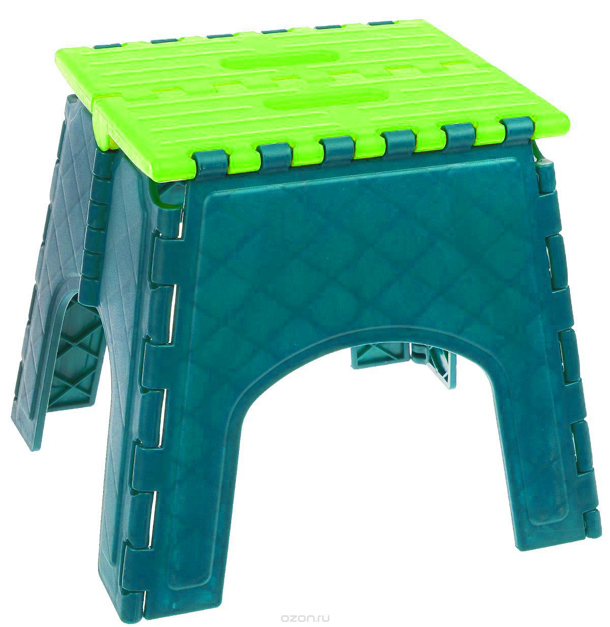 Табурет складной Idea Моби, цвет: бирюзовый, салатовый. М 2292 подставка для моющих средств idea цвет салатовый 10 5 х 12 5 х 18 5 см