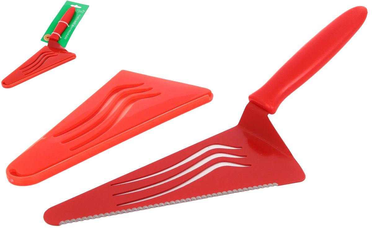 Лопатка-нож для торта и пиццы - очень полезный предмет сервировки, если вы  любите печь, или ваша семья неравнодушна к пицце. Ножом можно отрезать кусок  торта любого размера, а лопатка позволит не просыпать ни крошки. В комплекте с  лопаткой-ножом идет чехол, в котором удобно и красиво хранить этот  незаменимый предмет.  Длина ножа-лопатки: 30 см.  Размер рабочей поверхности: 17 х 8 см.  Размер чехла: 8,5 х 0,7 х 17,5 см.