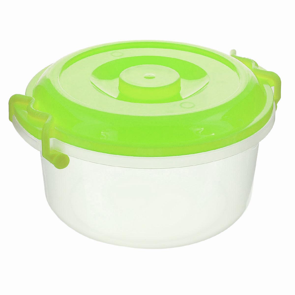 """Контейнер """"Альтернатива"""" изготовлен из высококачественного пищевого  пластика. Изделие оснащено крышкой и ручками, которые плотно закрывают  контейнер. Также на крышке имеется ручка для удобной переноски. Емкость  предназначена для хранения различных бытовых вещей и продуктов.  Такой  контейнер очень функционален и всегда пригодится на кухне.    Диаметр контейнера (по верхнему краю): 25 см.  Высота стенок: 13,5 см.  Объем: 5 л."""
