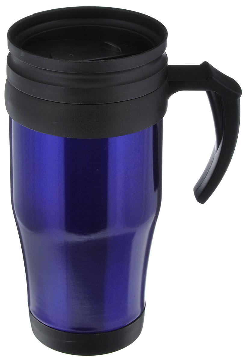 Термокружка Diolex, цвет: синий, черный, 450 мл450-2Термокружка Diolex выполнена из высококачественной нержавеюшей стали и термостойкого пластика с двойными стенками, которые защищают руки от высоких температур и позволяют дольше сохранять тепло напитка. Изделие имеет защиту от проливаний и оснащено удобной крышкой с открывающимся клапаном.Такая термокружка порадует каждого, кто ее увидит, и великолепно украсит кухонный интерьер. Диаметр (по верхнему краю): 8 см. Высота кружки (без учета крышки): 17,5 см.