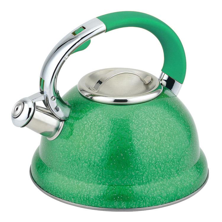 Чайник Mayer & Boch, со свистком, цвет: зеленый, 2,5 л23209Чайник со свистком Mayer & Boch изготовлен из высококачественной нержавеющей стали, что обеспечивает долговечность использования. Носик чайника оснащен откидным свистком, звуковой сигнал которого подскажет, когда закипит вода. Свисток открывается нажатием кнопки на ручке. Эргономичная нейлоновая ручка имеет покрытие soft-touch. Чайник Mayer & Boch - качественное исполнение и стильное решение для вашей кухни. Подходит для всех типов плит, включая индукционные. Можно мыть в посудомоечной машине.Высота чайника (без учета ручки и крышки): 12,5 см.Высота чайника (с учетом ручки и крышки): 23 см.Диаметр чайника (по верхнему краю): 10 см.Диаметр основания: 22 см.Диаметр индукционного дна: 18 см.