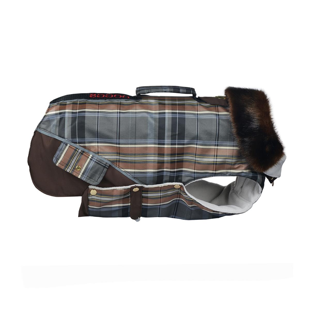 Попона для собак Dogmoda Doggs, для девочки, цвет: коричневый. Размер SDM-140545_коричневаяТеплая попона для собак Dogmoda Doggs отлично подойдет для прогулок в холодное время года. Попона изготовлена из водоотталкивающего полиэстера, защищающего от ветра и осадков. Синтепоновый утеплитель сохранит тепло даже в сильные морозы и обеспечит уют во время зимних прогулок. На подкладке используется флис, который обеспечивает воздухообмен. Попона не имеет рукавов, поэтому не ограничивает свободу движений, и собака будет чувствовать себя в ней комфортно. Стильный меховой воротник-стойка на молнии всегда будет обращать на себя восторженное внимание других владельцев собак. Модель застегивается на кнопки. На животе попона затягивается на шнурок-кулиску с зажимом. Спинка декорирована вышитой надписью Doggs, оснащена светоотражающими элементами и ручкой. Модель снабжена непромокаемым карманом для размещения записки с информацией о вашем питомце, на случай если он потеряется. Благодаря такой попоне питомцу будет тепло и комфортно.