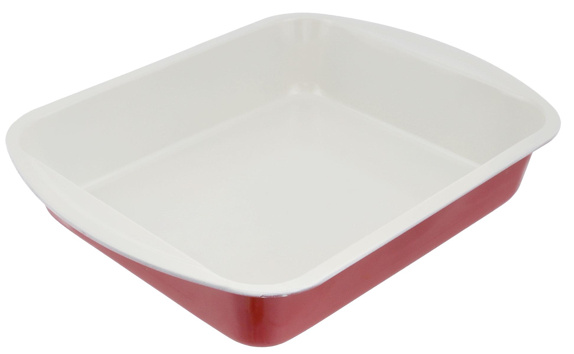 Противень Mayer & Boch, с керамическим покрытием, прямоугольный, цвет: красный, 34 х 24 х 5,3 см противень 290х200х25 мм discovery 916200
