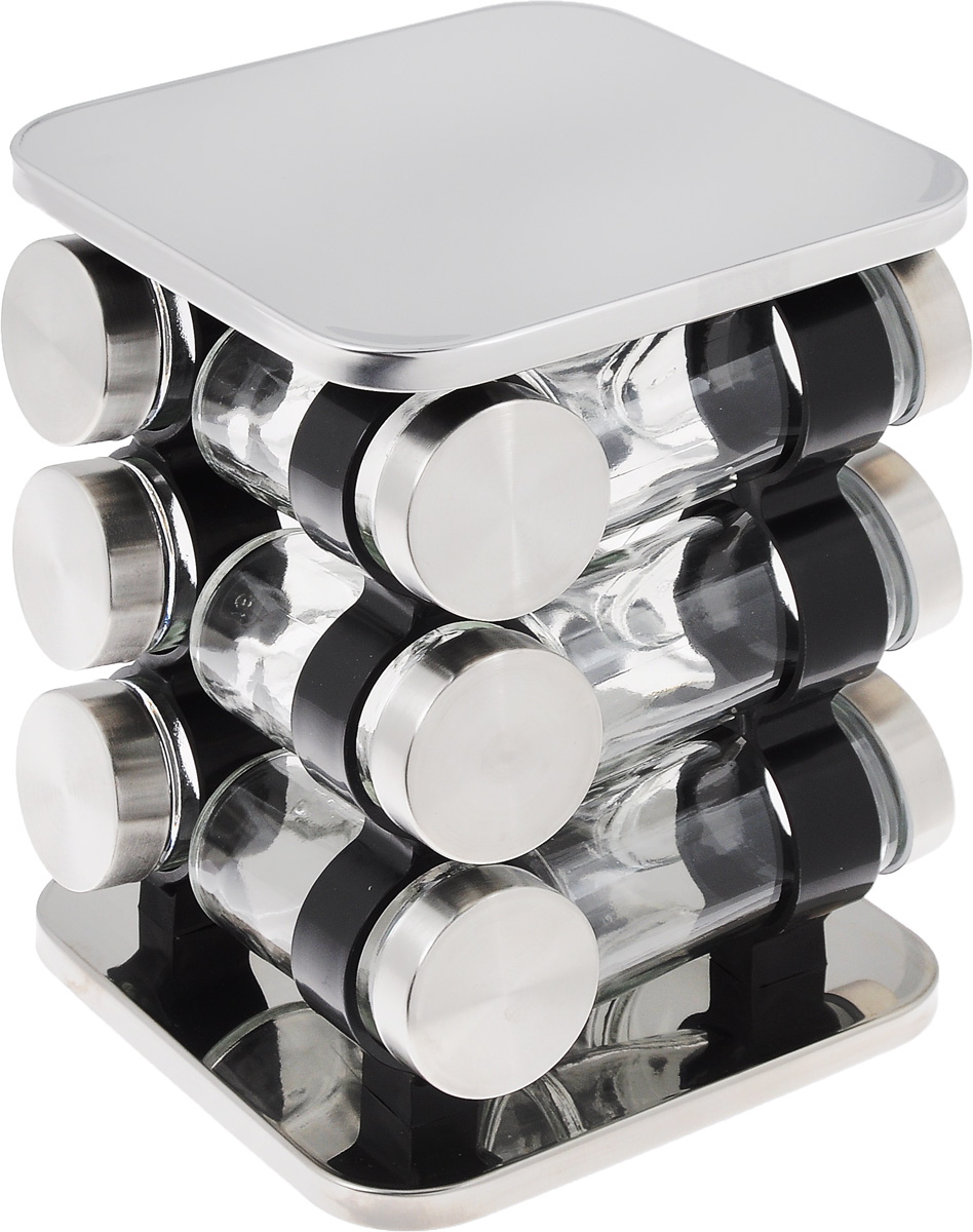 Набор включает 12 баночек для специй и подставку. Баночки выполнены из высококачественного стекла и снабжены металлическими крышками. Баночки прекрасно подойдут для различных специй. Прозрачные стенки позволяют видеть содержимое. Для компактного хранения в наборе предусмотрена вращающаяся подставка, выполненная из металла с зеркальной полировкой и пластика.  Такой набор станет стильным украшением кухни и полезным приобретением для любой хозяйки.  Объем баночек: 85 мл.  Диаметр баночек: 4,5 см.  Высота баночек: 9,5 см.  Размер подставки: 15,5 см х 15,5 см х 20,5 см.