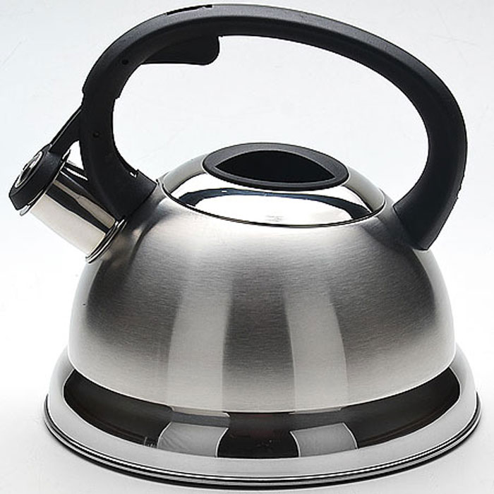 Чайник Mayer & Boch, со свистком, 2,3 л. 2267022670Чайник со свистком Mayer & Boch изготовлен из высококачественной нержавеющей стали, что обеспечивает долговечность использования. Капсульное дно обеспечивает равномерный и быстрый нагрев, поэтому вода закипает гораздо быстрее, чем в обычных чайниках. Носик чайника оснащен откидным свистком, звуковой сигнал которого подскажет, когда закипит вода. Свисток открывается нажатием кнопки на ручке. Чайник оснащен эргономичной пластиковой ручкой. Чайник Mayer & Boch - качественное исполнение и стильное решение для вашей кухни. Подходит для всех типов плит, включая индукционные. Можно мыть в посудомоечной машине.Высота чайника (без учета ручки и крышки): 12,5 см.Высота чайника (с учетом ручки и крышки): 21 см.Диаметр чайника (по верхнему краю): 10 см.