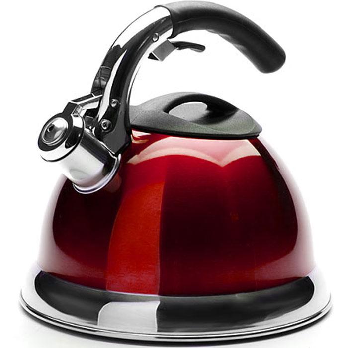 Чайник Mayer & Boch De Luxe со свистком, цвет: красный, 3 л. 3113-13113-1Чайник Mayer & Boch De Luxe изготовлен из нержавеющей стали, что делает его гигиеничным и устойчивым к износу при длительном использовании. Эмалевая внешняя поверхность придает чайнику стильный внешний вид. Гладкая и ровная поверхность существенно облегчает уход за посудой. Чайник при кипячении сохраняет все полезные свойства воды. Изделие снабжено свистком, который подскажет, когда закипела вода. Удобная эргономичная ручка с прорезиненным покрытием обеспечивает удобный захват. Свисток открывается с помощью специального рычага на ручке чайника. Чайник подходит для всех типов плит, кроме индукционных. Можно мыть в посудомоечной машине. Диаметр отверстия (по верхнему краю): 10 см. Высота (без учета ручки): 13,5 см. Высота (с учетом ручки): 22 см. Диаметр основания: 22 см.