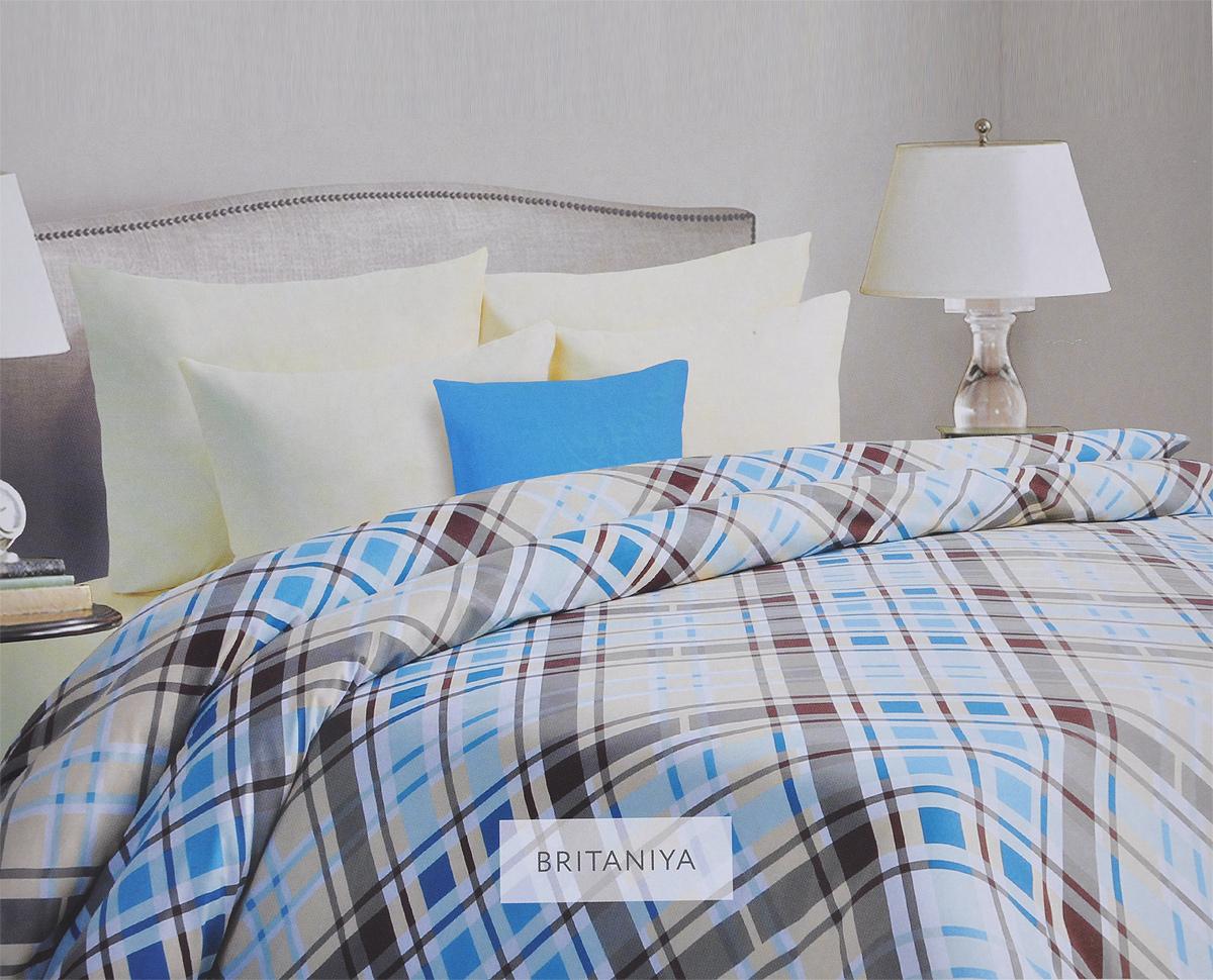 Комплект белья Mona Liza Britain, семейный, наволочки 50х70, цвет: голубой, бежевый. 562407/3 подушка mona liza цвет белый 50 х 70 см 539414