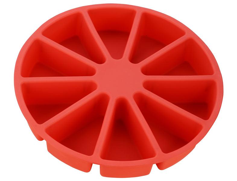 Форма для выпечки Calve, силиконовая, цвет: красный, диаметр 30 смCL-4600Форма для выпечки Calve круглой формы изготовлена из высококачественного силикона. Стенки формы легко гнутся, что позволяет легко достать готовую выпечку и сохранить аккуратный внешний вид блюда. Изделия из силикона очень удобны в использовании: пища в них не пригорает и не прилипает к стенкам, форма легко моется. Приготовленное блюдо можно очень просто вытащить, просто перевернув форму, при этом внешний вид блюда не нарушится. Изделие обладает эластичными свойствами: складывается без изломов, восстанавливает свою первоначальную форму. Порадуйте своих родных и близких любимой выпечкой в необычном исполнении. Подходит для приготовления в микроволновой печи и духовом шкафу при нагревании до +230°С; для замораживания до -40°.Размер формы: 30 х 30 х 5 см.Размер одной секции: 10,5 х 7 см.