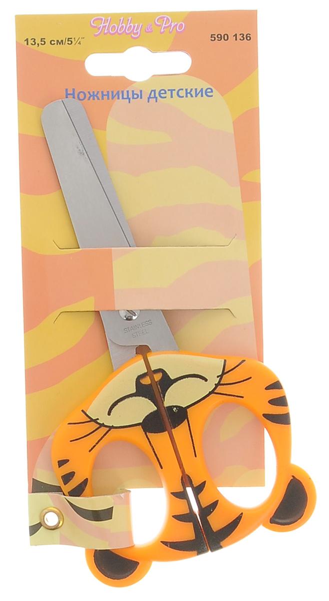Ножницы детские Hobby&Pro, 13,5 см7713407Детские ножницы Hobby&Pro предназначены для работы с бумагой, тканью и картоном. Выполнены из высококачественной нержавеющей стали. Пластиковые ручки имеют приятный дизайн в виде головы тигренка. Длина лезвий: 7 см.