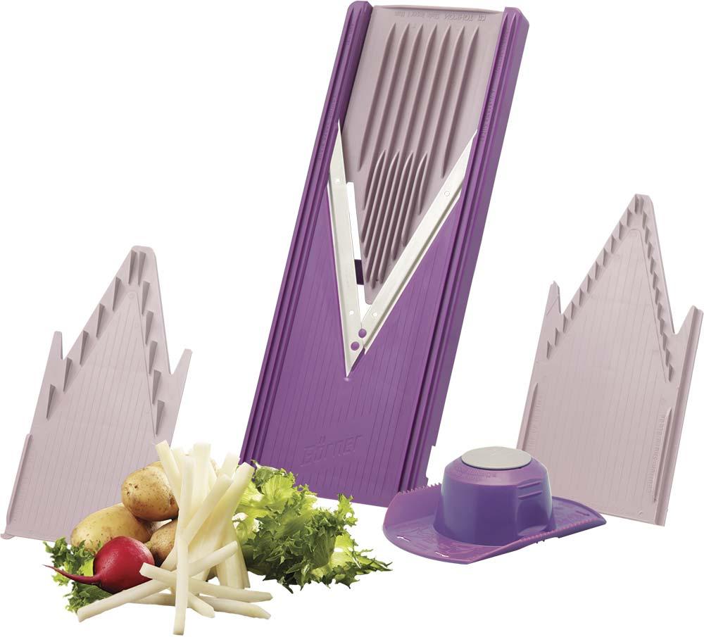 Овощерезка Borner Classic, цвет: фиолетовый, 5 предметов3810273Овощерезка Borner Classic всегда будет отличным и незаменимым помощником на вашей кухне. Она позволяет значительно сэкономить время и улучшить вкус и качество приготовленной пищи. Корпус овощерезки выполнен из прочного пластика, а ножи из высококачественной нержавеющей стали. Срок службы лезвий без заточки рассчитан на переработку 3-х тонн овощей.Комплект овощерезки состоит из:- V рама (в которую вставляют вставки);- безопасный плододержатель;- безножевая вставка;- вставка с ножами 3,5 мм;- вставки с ножами 7 мм.Виды нарезок: - шинковка капусты (толстая, тонкая, короткая, длинная);- из любых овощей и фруктов (кольца, полукольца);- из баклажанов, кабачков (длинные пласты);- из колбасы, сыра твердых сортов (ломтики). V рама + вставка с ножами 3,5 мм: - из любых овощей и фруктов (тонкая длинная и короткая соломка, мелкие кубики). V рама + вставка с ножами 7 мм: - из любых овощей и фруктов (длинные или короткие брусочки, крупные кубики).Размер овощерезки: 34 см х 12 см х 2 см.
