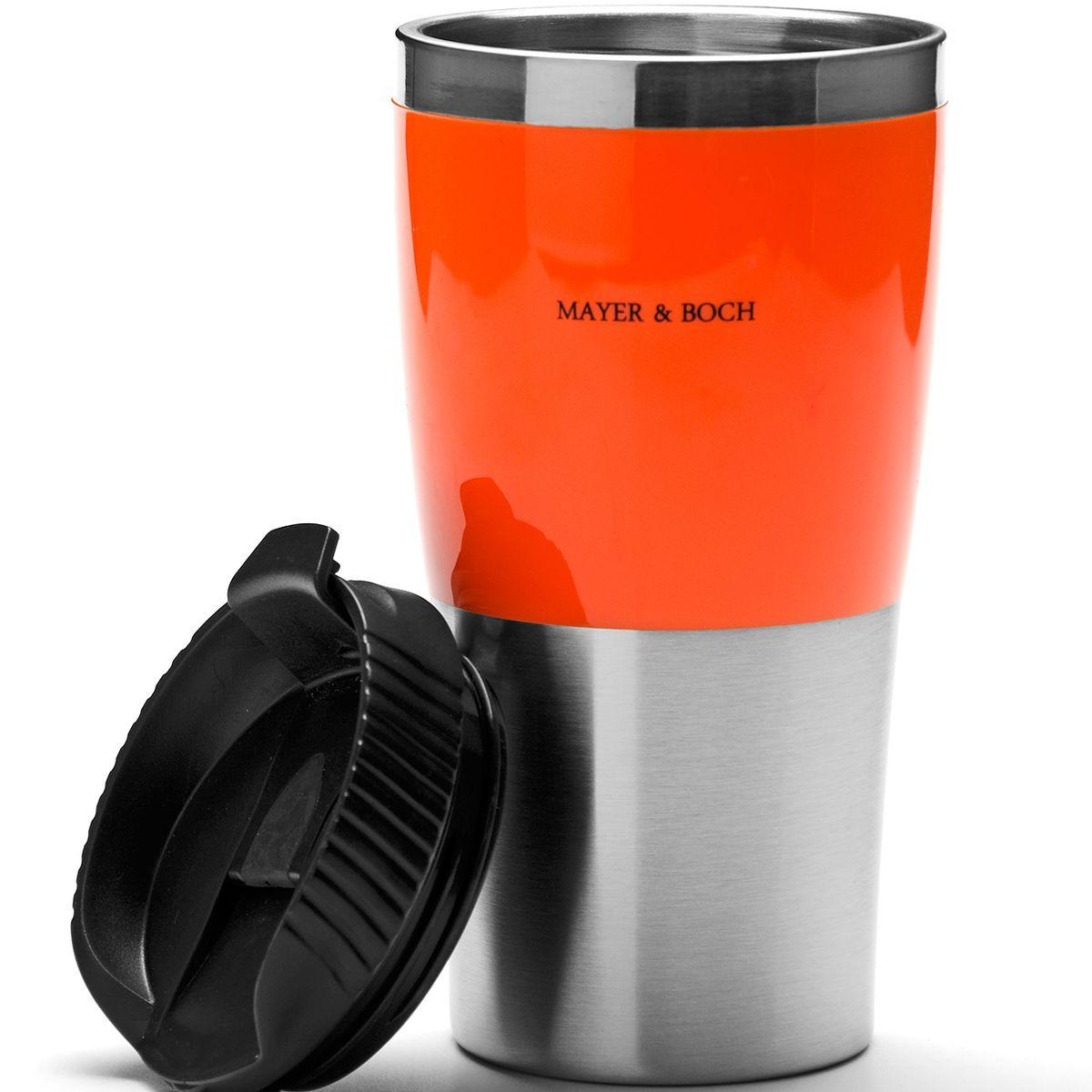 Кружка-термос Mayer & Boch, цвет: оранжевый, черный, 450 мл25408Термокружка Mayer & Boch изготовлена из нержавеющей стали и термостойкого пластика с двойными стенками, которые защищают руки от высоких температур и позволяют сохранять тепло напитка 1,5 часа. Надежная закручивающаяся крышка с защитой от проливания обеспечит дополнительную безопасность.Крышка оснащена клапаном для питья. Оптимальный объем позволит взять с собой большую порцию горячего кофе или чая. Идеально подходит для холодных напитков.Такая кружка может быть использована во время отдыха, на работе, в путешествии, во время поездок в автомобиле.Материал: акрилонитрил.Высота кружки-термоса (с учетом крышки): 17,8 см. Диаметр основания кружки-термоса: 6,5 см.Диаметр горлышка: 8,3 см.