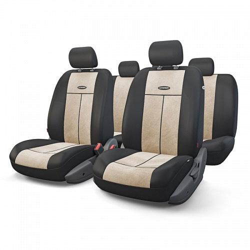 Авточехлы Autoprofi TT, цвет: черный, светло-бежевый, 9 предметов. TT-902V BK/L.BETT-902V BK/L.BEАвтомобильные чехлы Autoprofi TT изготовлены из высококачественного полиэстера и велюра со вставками из поролона толщиной 2 мм, обеспечивающего сцепление с сиденьем. Ткань хорошо пропускает воздух и отводит влагу. Чехлы универсальны: благодаря эластичности ткани, отлично сидят на большинстве моделей сидений. Чехлы предназначены для автомобильных сидений, оборудованных встроенными боковыми подушками безопасности. Имеют специальный распускаемый шов под Airbag. Молнии, расположенные в чехлах спинки заднего ряда, позволяют использовать чехлы на автомобилях с различными пропорциями складывания заднего ряда.Мягкие чехлы являются отличным дополнением салона любого автомобиля. Изделия придают автомобильному интерьеру современные и солидные черты.Комплектация: 5 подголовников, 2 чехла сидений переднего ряда, 1 спинка заднего ряда, 1 сиденье заднего ряда.