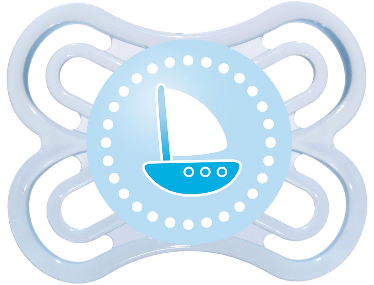 MAM Пустышка Perfect Кораблик от 0 месяцев цвет голубой mam пустышка mam perfect силиконовая 0 6 мес синяя мишка