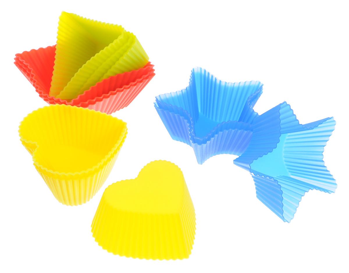 Набор форм для выпечки Mayer & Boch Геометрия, цвет: желтый, синий, красный, 12 шт20047Набор Mayer & Boch Геометрия состоит из двенадцати форм для выпечки, изготовленных из высококачественного силикона, выдерживающего температуру от -40°C до +210 °C. Формы выполнены в виде звезды, треугольника, сердца и квадрата. Если вы любите побаловать своих домашних вкусным и ароматным угощением по вашему оригинальному рецепту, то набор формочек Mayer & Boch Геометрия как раз то, что вам нужно!Объем формочек: 53 мл, 85 мл, 40 мл.