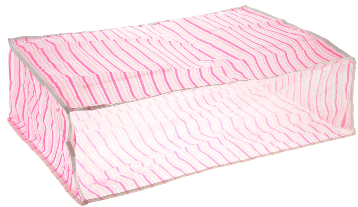Чехол для хранения Eva, цвет: розовый, белый, 60 см х 40 см х 20 смЕ-5201_розовый, белыйУдобный чехол на застежке-молнии Eva изготовлен из прочного, водонепроницаемого, легкого в уходе материала PEVA. Он обеспечит надежное хранение вашей одежды и различных вещей, защитит от повреждений, пыли, грязи и UV-излучений во время хранения и транспортировки. Изделие оснащено прозрачной стенкой, благодаря которой вы без труда определите содержимое чехла. Изделие можно стирать при температуре до 40°C.