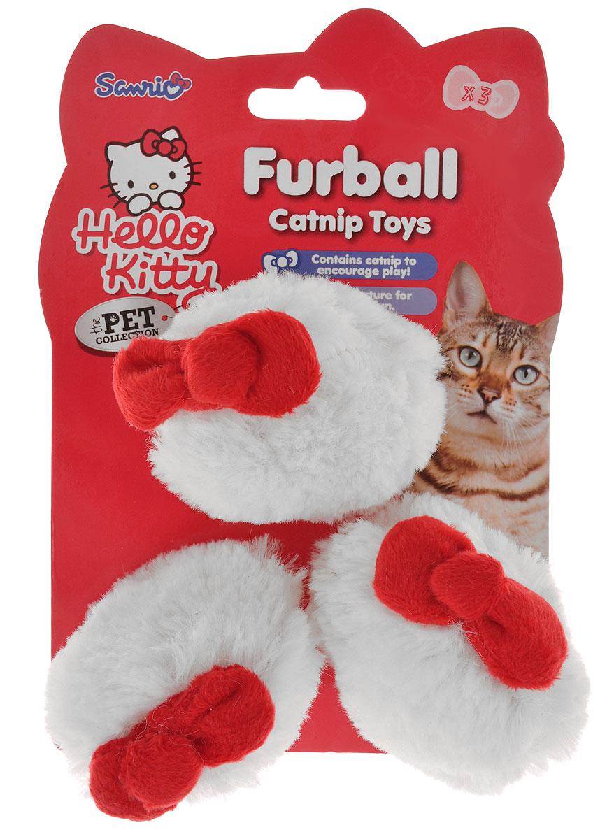 Игрушка для кошек Hello Kitty Меховой мячик, диаметр 6 см, 3 шт игрушка для животных каскад мячик пробковый цвет зеленый 3 5 см