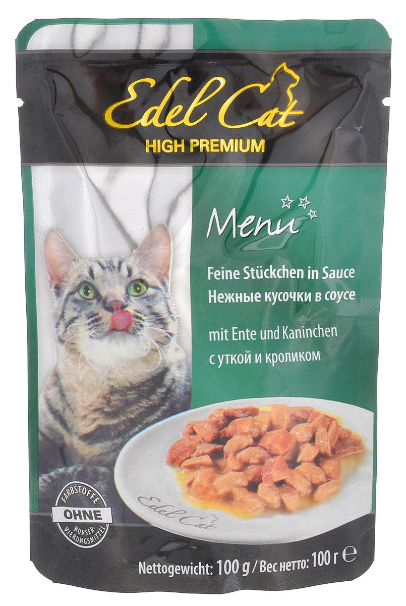 Консервы для кошек Edel Cat, с уткой и кроликом в соусе, 100 г15145Консервы для кошек Edel Cat со вкусом кролика и утки - это аппетитные мясные кусочки в ароматном соусе. Не упустите возможность порадовать своего питомца этим угощением.Edel Cat - лакомство для кошек, изготовленное в Германии. В качестве основного ингредиента выступает свежее отборное мясо кролика и утки. Ни одна кошка не сможет устоять перед мясными ароматными кусочками в соусе. Edel Cat выделяется не только своими вкусовыми свойствами, но и полезностью. Например, стоит отметить, что в состав входит такой важный элемент, как клетчатка. Она укрепляет стенки пищевода и улучшает функционирование желудка. Edel Cat содержит также и таурин. Он оказывает положительное воздействие на регенерацию клеток, сердце и органы зрения. Кроме этого, в составе обнаруживается витаминный и минеральный комплексы, которые также хорошо сказываются на организме взрослых кошек. Состав: мясо и продукты животного происхождения (4% утка, 4% кролик), злаки, минеральные вещества, сахар. Питательные вещества: влажность 82%, протеин 8%, жир 4,5%, зола 2,5%, клетчатка 0,3%.Пищевые добавки на кг: D3 - 250 ME, витамин Е - 15 мг, медь - 1,0 мг.Товар сертифицирован.