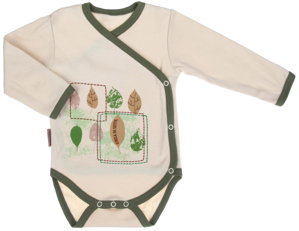 Боди-кимоно детское Linea Di Sette Ботаника, цвет: бежевый, зеленый. 05-0903. Размер 68, 6-9 месяцев кофточка linea di sette сказочный лес цвет молочный бежевый 02 0703 размер 62 3 6 месяцев