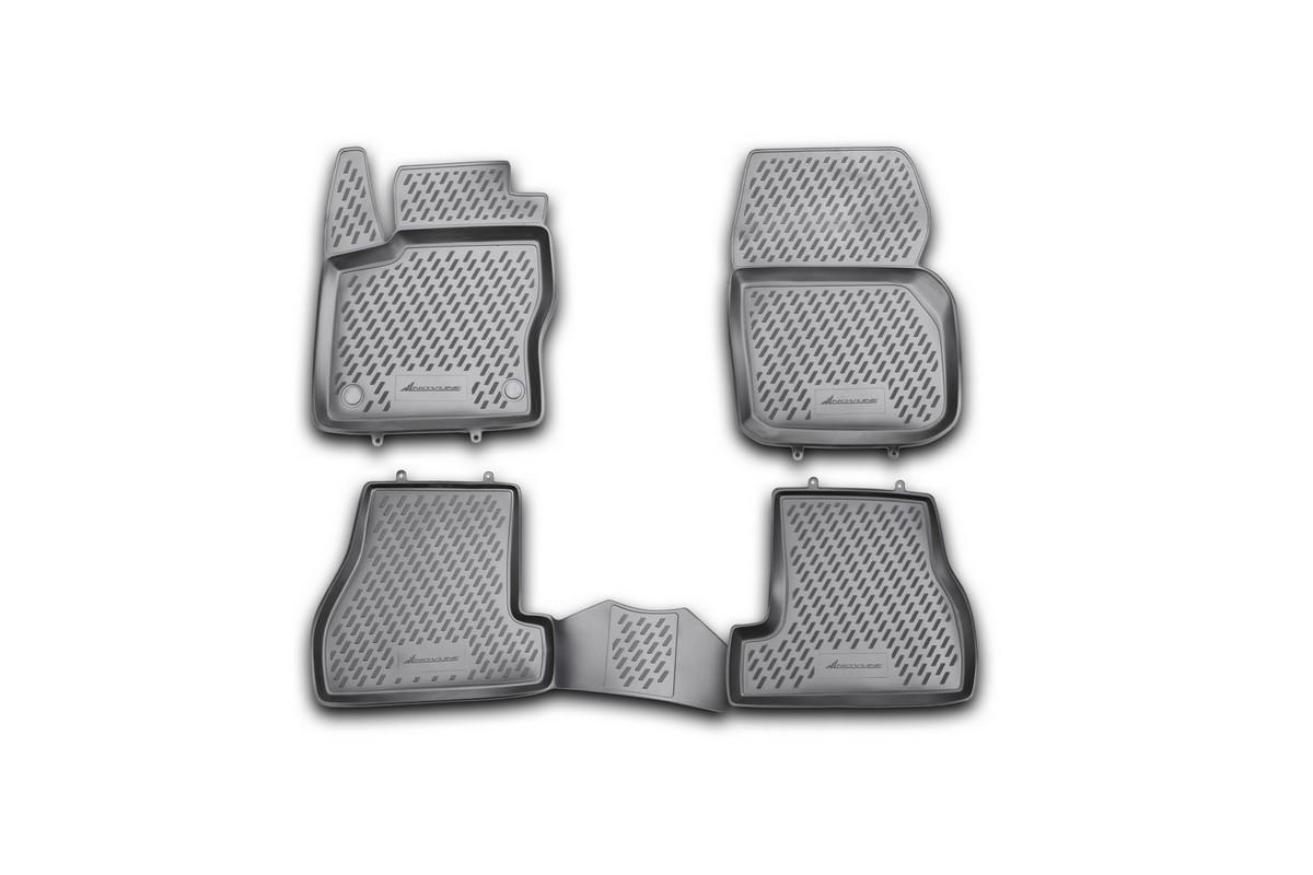 Набор автомобильных ковриков Novline-Autofamily для Ford Focus 3, 04/2011-2015, в салон, 4 штCARFRD00001hНабор автомобильных ковриков Novline-Autofamily, изготовленный из полиуретана, состоит из 4 ковриков, которые учитывают все особенности каждой модели автомобиля и полностью повторяют контуры пола. Полиуретановые автомобильные коврики для салона произведены из высококачественного материала, который держит форму, прочный и не пачкает обувь. Коврики в салон не только улучшат внешний вид салона вашего автомобиля, но и надежно уберегут его от пыли, грязи и сырости, а значит, защитят кузов от коррозии. Полиуретановые коврики для автомобиля гладкие, приятные и не пропускают влагу. Ковры для автомобилей надежно крепятся на полу и не скользят, что очень важно во время движения. Чистятся коврики очень просто: как при помощи автомобильного пылесоса, так и различными моющими средствами. Набор подходит для Ford Focus 3, апрель 2011 - 2015 годов выпуска.