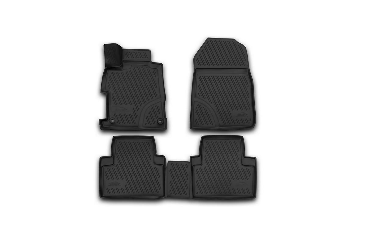 Набор автомобильных 3D-ковриков Novline-Autofamily для Honda Civic 4D, 2012->, седан, в салон, 4 штCARHND00011Набор Novline-Autofamily состоит из 4 ковриков, изготовленных из полиуретана.Основная функция ковров - защита салона автомобиля от загрязнения и влаги. Это достигается за счет высоких бортов, перемычки на тоннель заднего ряда сидений, элементов формы и текстуры, свойств материала, а также запатентованной технологией 3D-перемычки в зоне отдыха ноги водителя, что обеспечивает дополнительную защиту, сохраняя салон автомобиля в первозданном виде.Материал, из которого сделаны коврики, обладает антискользящими свойствами. Для фиксации ковров в салоне автомобиля в комплекте с ними используются специальные крепежи. Форма передней части водительского ковра, уходящая под педаль акселератора, исключает нештатное заедание педалей.Набор подходит для Honda Civic 4D с 2012 года выпуска.