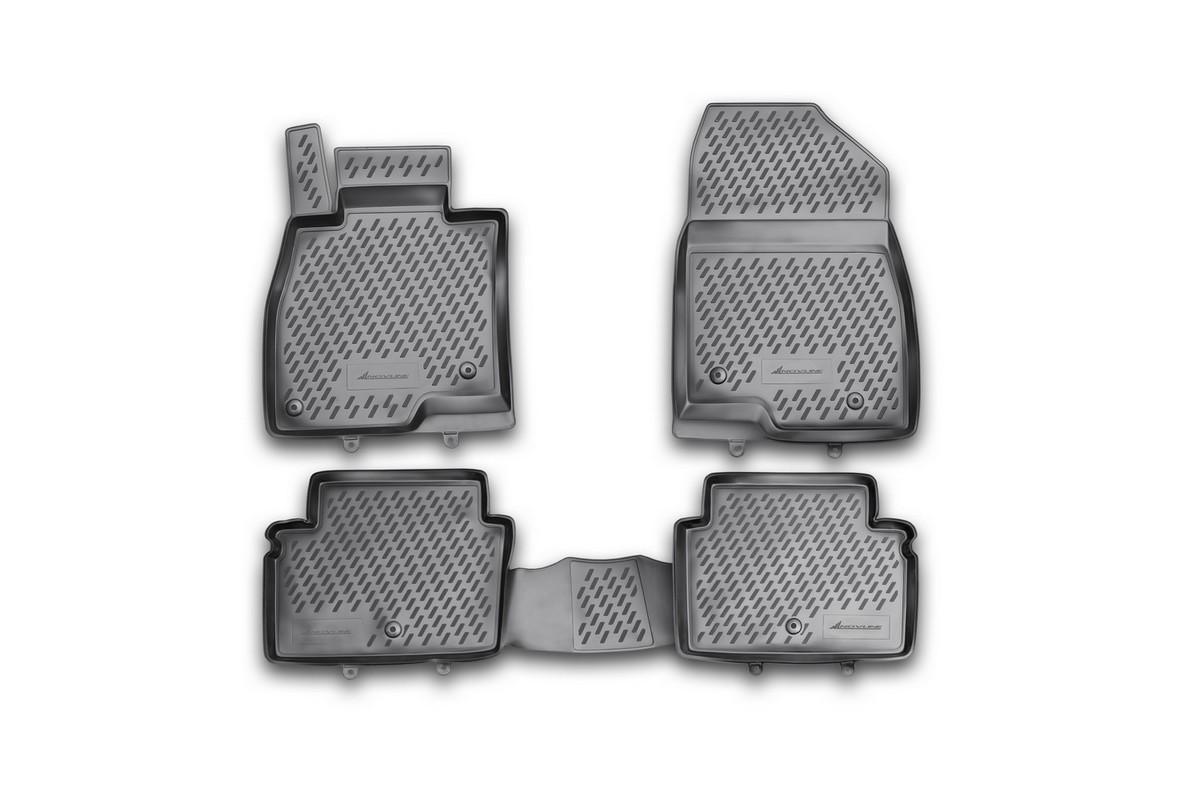 Набор автомобильных ковриков Novline-Autofamily для Mazda 6 2012-, универсал, в салон, 4 штCARMZD00027hНабор автомобильных ковриков Novline-Autofamily, изготовленный из полиуретана, состоит из 4 ковриков, которые учитывают все особенности каждой модели автомобиля и полностью повторяют контуры пола. Полиуретановые автомобильные коврики для салона произведены из высококачественного материала, который держит форму, прочный и не пачкает обувь. Коврики в салон не только улучшат внешний вид салона вашего автомобиля, но и надежно уберегут его от пыли, грязи и сырости, а значит, защитят кузов от коррозии. Полиуретановые коврики для автомобиля гладкие, приятные и не пропускают влагу. Ковры для автомобилей надежно крепятся на полу и не скользят, что очень важно во время движения. Чистятся коврики очень просто: как при помощи автомобильного пылесоса, так и различными моющими средствами. Набор подходит для Mazda 6 универсал с 2012 года выпуска.