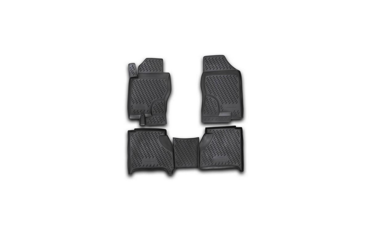 Набор автомобильных ковриков Novline-Autofamily для Nissan Navara АКПП 2005-, в салон, 4 шт. CARNIS00007CARNIS00007Набор автомобильных ковриков Novline-Autofamily, изготовленный из полиуретана, состоит из 4 ковриков, которые учитывают все особенности каждой модели автомобиля и полностью повторяют контуры пола. Полиуретановые автомобильные коврики для салона произведены из высококачественного материала, который держит форму, прочный и не пачкает обувь. Коврики в салон не только улучшат внешний вид салона вашего автомобиля, но и надежно уберегут его от пыли, грязи и сырости, а значит, защитят кузов от коррозии. Полиуретановые коврики для автомобиля гладкие, приятные и не пропускают влагу. Ковры для автомобилей надежно крепятся на полу и не скользят, что очень важно во время движения. Чистятся коврики очень просто: как при помощи автомобильного пылесоса, так и различными моющими средствами. Набор подходит для Nissan Navara АКПП с 2005 года выпуска.