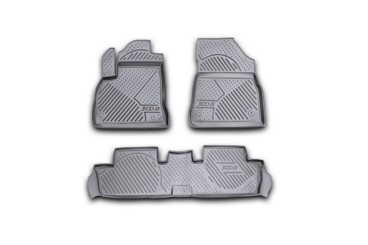 Набор автомобильных ковриков Novline-Autofamily для Peugeot 3008 08/2010-, в салон, 3 штCARPGT00023Набор автомобильных ковриков Novline-Autofamily, изготовленный из полиуретана, состоит из 3 ковриков, которые учитывают все особенности каждой модели автомобиля и полностью повторяют контуры пола. Полиуретановые автомобильные коврики для салона произведены из высококачественного материала, который держит форму, прочный и не пачкает обувь. Коврики в салон не только улучшат внешний вид салона вашего автомобиля, но и надежно уберегут его от пыли, грязи и сырости, а значит, защитят кузов от коррозии. Полиуретановые коврики для автомобиля гладкие, приятные и не пропускают влагу. Ковры для автомобилей надежно крепятся на полу и не скользят, что очень важно во время движения. Чистятся коврики очень просто: как при помощи автомобильного пылесоса, так и различными моющими средствами. Набор подходит для Peugeot 3008 с августа 2010 года выпуска.