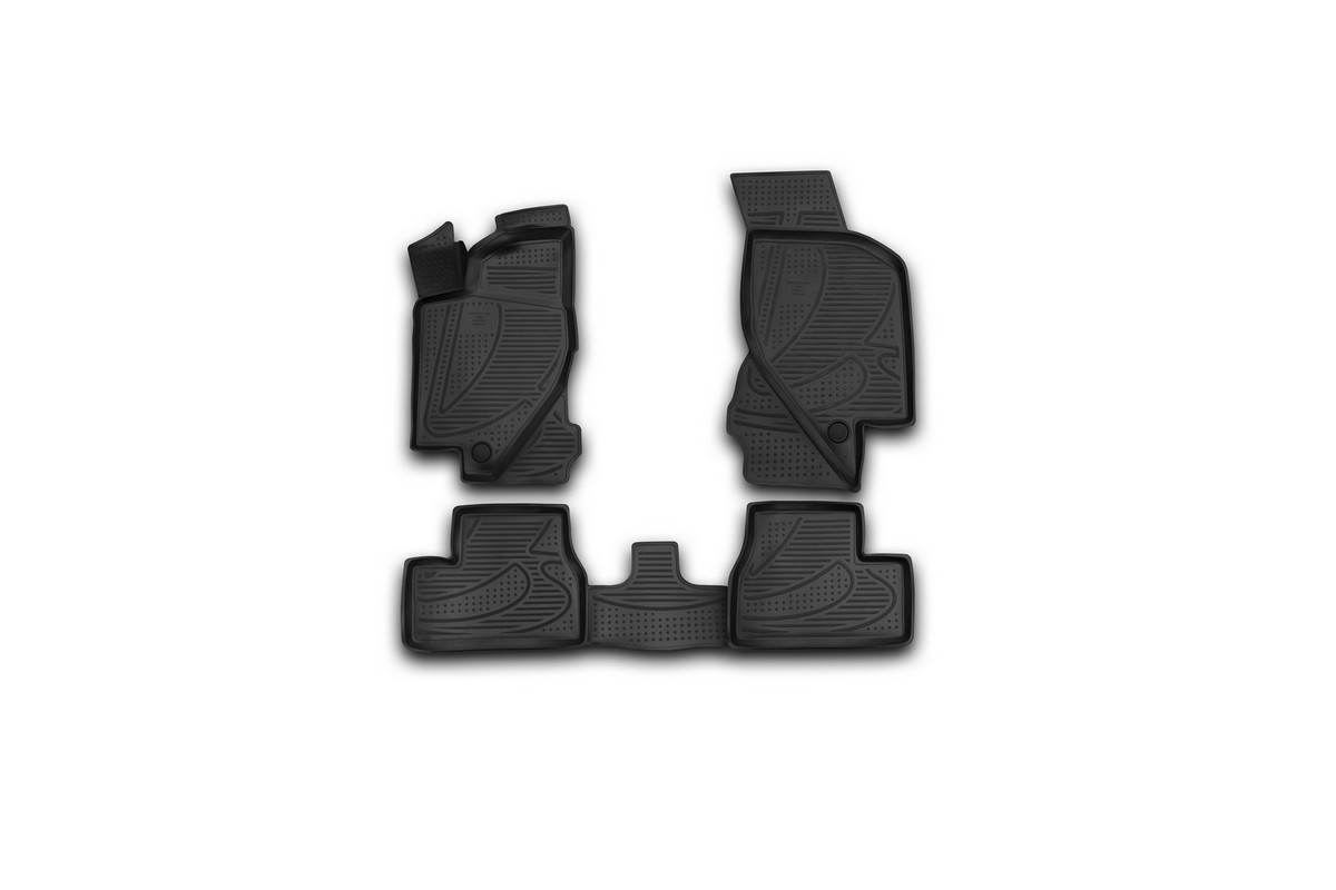 Набор автомобильных 3D-ковриков Novline-Autofamily, для Lada Granta, 2011-, 4 штF520250E1Набор Novline-Autofamily состоит из 4 ковриков, изготовленных из полиуретана.Основная функция ковров - защита салона автомобиля от загрязнения и влаги. Это достигается за счет высоких бортов, перемычки на тоннель заднего ряда сидений, элементов формы и текстуры, свойств материала, а также запатентованной технологией 3D-перемычки в зоне отдыха ноги водителя, что обеспечивает дополнительную защиту, сохраняя салон автомобиля в первозданном виде.Материал, из которого сделаны коврики, обладает антискользящими свойствами. Для фиксации ковров в салоне автомобиля в комплекте с ними используются специальные крепежи. Форма передней части водительского ковра, уходящая под педаль акселератора, исключает нештатное заедание педалей.