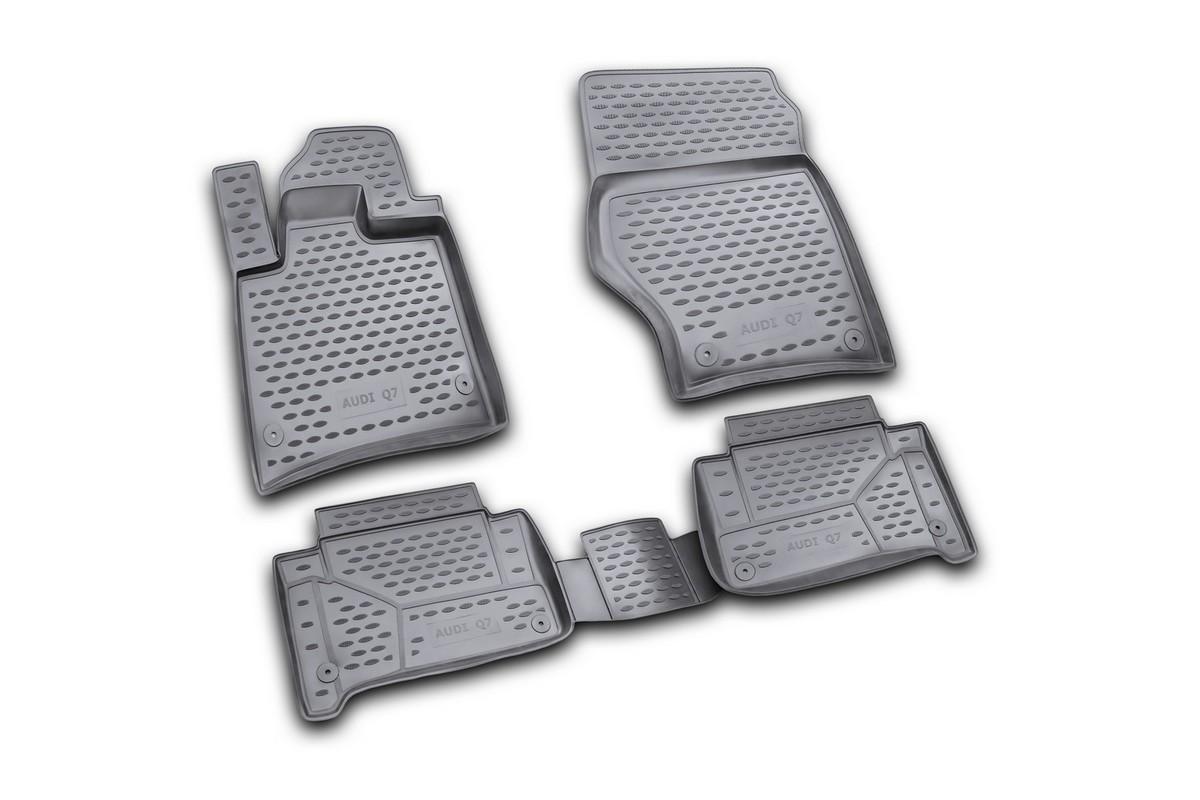 Набор автомобильных ковриков Novline-Autofamily для Audi Q7 2006-, в салон, цвет: черный, 4 штNLC.04.16.210kНабор автомобильных ковриков Novline-Autofamily, изготовленный из полиуретана, состоит из 4 ковриков, которые учитывают все особенности каждой модели автомобиля и полностью повторяют контуры пола. Полиуретановые автомобильные коврики для салона произведены из высококачественного материала, который держит форму, прочный и не пачкает обувь. Коврики в салон не только улучшат внешний вид салона вашего автомобиля, но и надежно уберегут его от пыли, грязи и сырости, а значит, защитят кузов от коррозии. Полиуретановые коврики для автомобиля гладкие, приятные и не пропускают влагу. Ковры для автомобилей надежно крепятся на полу и не скользят, что очень важно во время движения. Чистятся коврики очень просто: как при помощи автомобильного пылесоса, так и различными моющими средствами. Набор подходит для Audi Q7 с 2006 года выпуска.