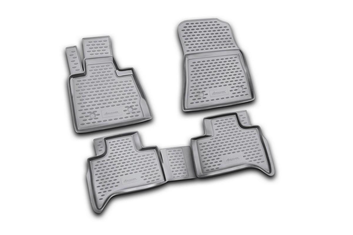 Набор автомобильных ковриков Novline-Autofamily для BMW X5 1999-2006, в салон, цвет: черный, 4 штNLC.05.29.210kНабор автомобильных ковриков Novline-Autofamily, изготовленный из полиуретана, состоит из 4 ковриков, которые учитывают все особенности каждой модели автомобиля и полностью повторяют контуры пола. Полиуретановые автомобильные коврики для салона произведены из высококачественного материала, который держит форму, прочный и не пачкает обувь. Коврики в салон не только улучшат внешний вид салона вашего автомобиля, но и надежно уберегут его от пыли, грязи и сырости, а значит, защитят кузов от коррозии. Полиуретановые коврики для автомобиля гладкие, приятные и не пропускают влагу. Ковры для автомобилей надежно крепятся на полу и не скользят, что очень важно во время движения. Чистятся коврики очень просто: как при помощи автомобильного пылесоса, так и различными моющими средствами. Набор подходит для BMW X5 1999-2006 годов выпуска.