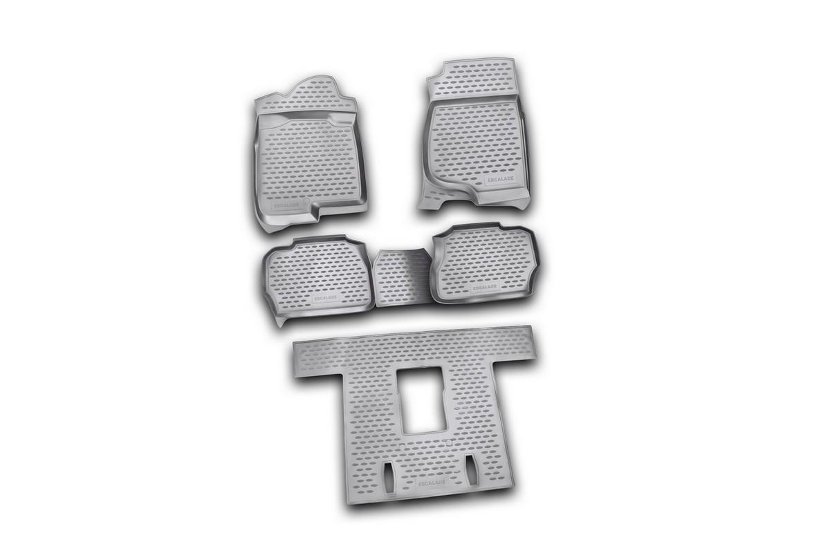 Набор автомобильных ковриков Novline-Autofamily для Cadillac Escalade 06/2006-2015, в салон, 5 штNLC.07.03.210kНабор автомобильных ковриков Novline-Autofamily, изготовленный из полиуретана, состоит из 5 ковриков, которые учитывают все особенности каждой модели автомобиля и полностью повторяют контуры пола. Полиуретановые автомобильные коврики для салона произведены из высококачественного материала, который держит форму, прочный и не пачкает обувь. Коврики в салон не только улучшат внешний вид салона вашего автомобиля, но и надежно уберегут его от пыли, грязи и сырости, а значит, защитят кузов от коррозии. Полиуретановые коврики для автомобиля гладкие, приятные и не пропускают влагу. Ковры для автомобилей надежно крепятся на полу и не скользят, что очень важно во время движения. Чистятся коврики очень просто: как при помощи автомобильного пылесоса, так и различными моющими средствами. Набор подходит для Cadillac Escalade июнь 2006 - 2015 годов выпуска.