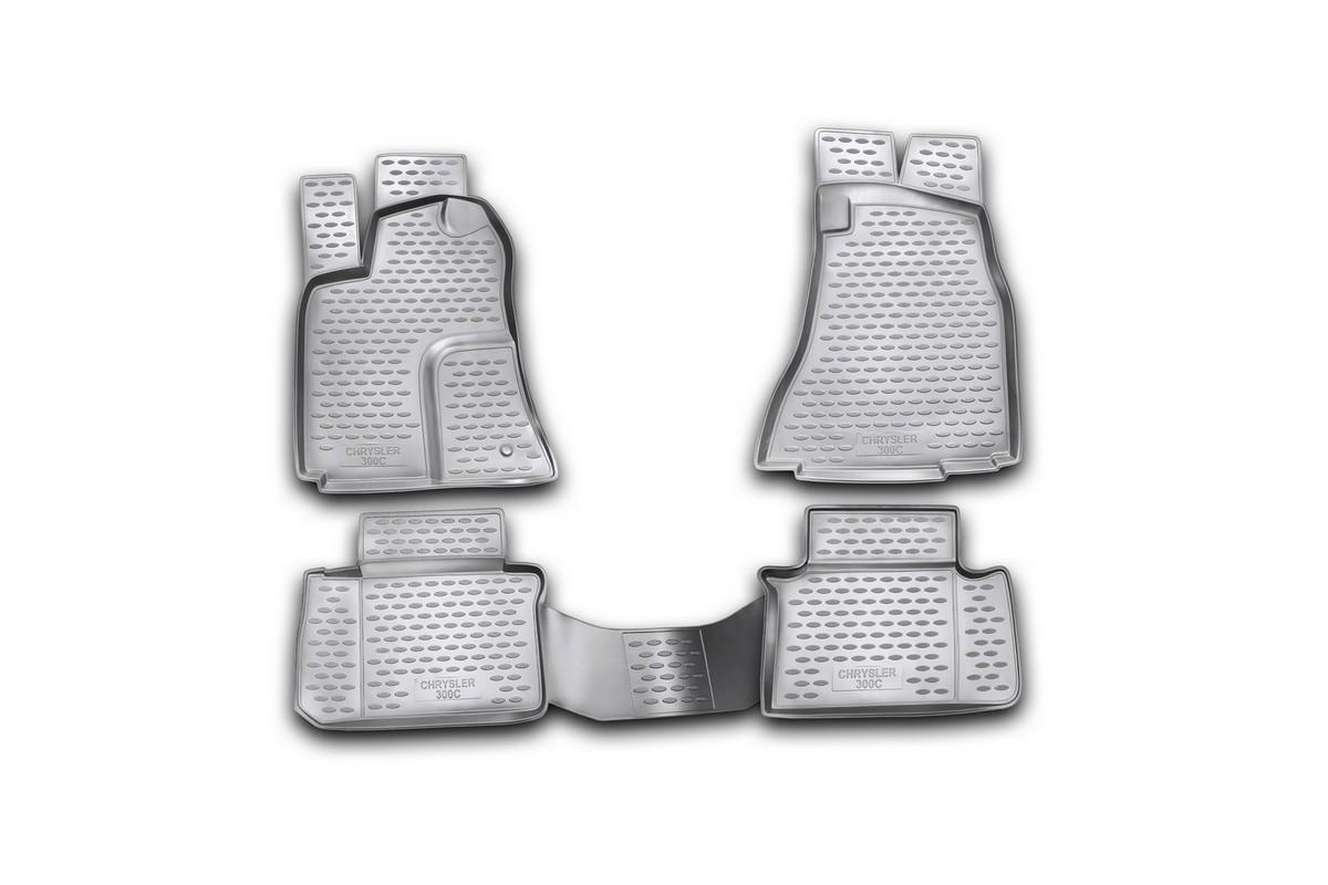Набор автомобильных ковриков Novline-Autofamily для Chrysler 300C 2004-2012, в салон, цвет: черный, 4 штNLC.09.03.210Набор автомобильных ковриков Novline-Autofamily, изготовленный из полиуретана, состоит из 4 ковриков, которые учитывают все особенности каждой модели автомобиля и полностью повторяют контуры пола. Полиуретановые автомобильные коврики для салона произведены из высококачественного материала, который держит форму, прочный и не пачкает обувь. Коврики в салон не только улучшат внешний вид салона вашего автомобиля, но и надежно уберегут его от пыли, грязи и сырости, а значит, защитят кузов от коррозии. Полиуретановые коврики для автомобиля гладкие, приятные и не пропускают влагу. Ковры для автомобилей надежно крепятся на полу и не скользят, что очень важно во время движения. Чистятся коврики очень просто: как при помощи автомобильного пылесоса, так и различными моющими средствами. Набор подходит для Chrysler 300C 2004-2012 годов выпуска.