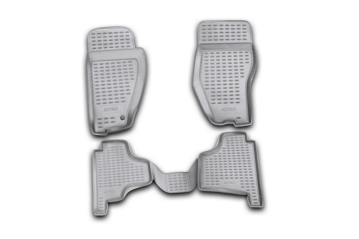 Набор автомобильных ковриков Novline-Autofamily для Dodge Nitro 2007-, в салон, 4 штNLC.13.02.210Набор автомобильных ковриков Novline-Autofamily, изготовленный из полиуретана, состоит из 4 ковриков, которые учитывают все особенности каждой модели автомобиля и полностью повторяют контуры пола. Полиуретановые автомобильные коврики для салона произведены из высококачественного материала, который держит форму, прочный и не пачкает обувь. Коврики в салон не только улучшат внешний вид салона вашего автомобиля, но и надежно уберегут его от пыли, грязи и сырости, а значит, защитят кузов от коррозии. Полиуретановые коврики для автомобиля гладкие, приятные и не пропускают влагу. Ковры для автомобилей надежно крепятся на полу и не скользят, что очень важно во время движения. Чистятся коврики очень просто: как при помощи автомобильного пылесоса, так и различными моющими средствами. Набор подходит для Dodge Nitro с 2007 года выпуска.