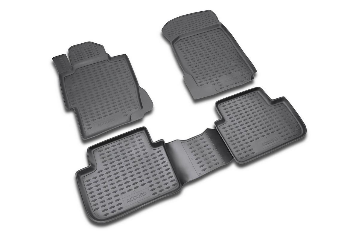 Набор автомобильных ковриков Novline-Autofamily для Honda Accord 2008-, в салон, цвет: черный, 4 штNLC.18.02.210kНабор автомобильных ковриков Novline-Autofamily, изготовленный из полиуретана, состоит из 4 ковриков, которые учитывают все особенности каждой модели автомобиля и полностью повторяют контуры пола. Полиуретановые автомобильные коврики для салона произведены из высококачественного материала, который держит форму, прочный и не пачкает обувь. Коврики в салон не только улучшат внешний вид салона вашего автомобиля, но и надежно уберегут его от пыли, грязи и сырости, а значит, защитят кузов от коррозии. Полиуретановые коврики для автомобиля гладкие, приятные и не пропускают влагу. Ковры для автомобилей надежно крепятся на полу и не скользят, что очень важно во время движения. Чистятся коврики очень просто: как при помощи автомобильного пылесоса, так и различными моющими средствами. Набор подходит для Honda Accord с 2008 года выпуска.