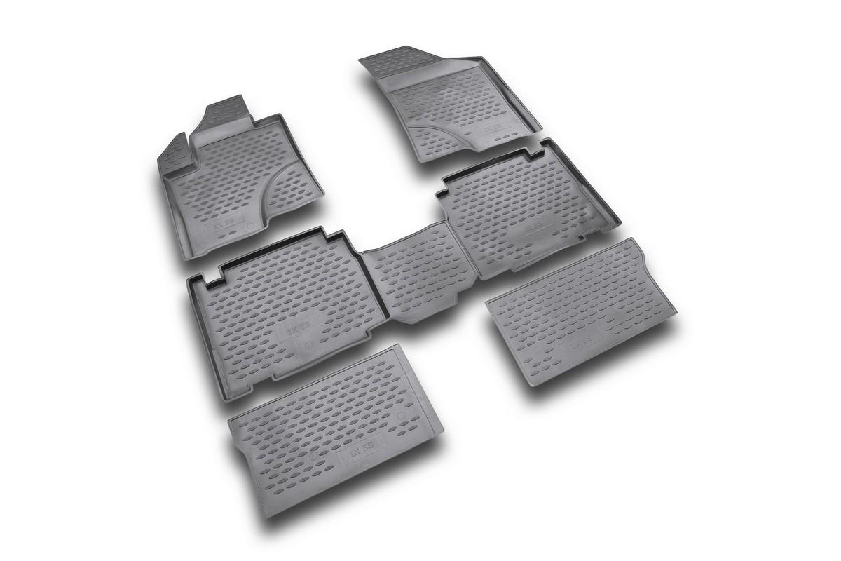Набор автомобильных ковриков Novline-Autofamily для Hyundai ix 55 2007-, в салон, цвет: черный, 6 штNLC.20.30.210kНабор автомобильных ковриков Novline-Autofamily, изготовленный из полиуретана, состоит из 6 ковриков, которые учитывают все особенности каждой модели автомобиля и полностью повторяют контуры пола. Полиуретановые автомобильные коврики для салона произведены из высококачественного материала, который держит форму, прочный и не пачкает обувь. Коврики в салон не только улучшат внешний вид салона вашего автомобиля, но и надежно уберегут его от пыли, грязи и сырости, а значит, защитят кузов от коррозии. Полиуретановые коврики для автомобиля гладкие, приятные и не пропускают влагу. Ковры для автомобилей надежно крепятся на полу и не скользят, что очень важно во время движения. Чистятся коврики очень просто: как при помощи автомобильного пылесоса, так и различными моющими средствами. Набор подходит для Hyundai ix 55 с 2007 года выпуска.