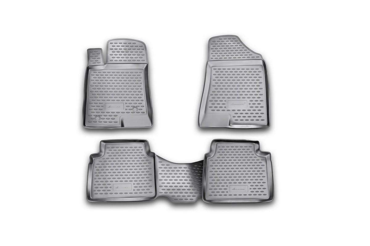 Набор автомобильных ковриков Novline-Autofamily для Hyundai Grandeur 05/2005-, в салон, 4 штNLC.20.33.210Набор автомобильных ковриков Novline-Autofamily, изготовленный из полиуретана, состоит из 4 ковриков, которые учитывают все особенности каждой модели автомобиля и полностью повторяют контуры пола. Полиуретановые автомобильные коврики для салона произведены из высококачественного материала, который держит форму, прочный и не пачкает обувь. Коврики в салон не только улучшат внешний вид салона вашего автомобиля, но и надежно уберегут его от пыли, грязи и сырости, а значит, защитят кузов от коррозии. Полиуретановые коврики для автомобиля гладкие, приятные и не пропускают влагу. Ковры для автомобилей надежно крепятся на полу и не скользят, что очень важно во время движения. Чистятся коврики очень просто: как при помощи автомобильного пылесоса, так и различными моющими средствами. Набор подходит для Hyundai Grandeur с мая 2005 года выпуска.