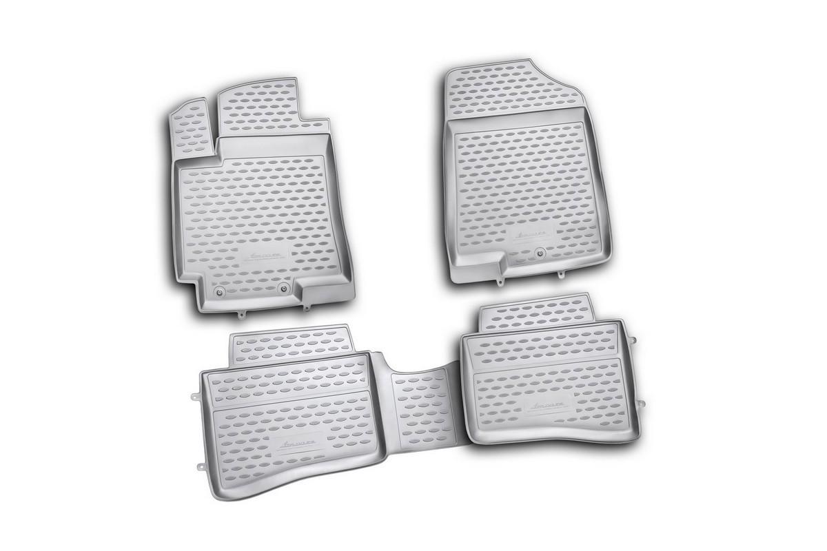 Набор автомобильных ковриков Novline-Autofamily для Hyundai Solaris 2010-2014, в салон, цвет: черный, 4 штNLC.20.41.210hНабор автомобильных ковриков Novline-Autofamily, изготовленный из полиуретана, состоит из 4 ковриков, которые учитывают все особенности каждой модели автомобиля и полностью повторяют контуры пола. Полиуретановые автомобильные коврики для салона произведены из высококачественного материала, который держит форму, прочный и не пачкает обувь. Коврики в салон не только улучшат внешний вид салона вашего автомобиля, но и надежно уберегут его от пыли, грязи и сырости, а значит, защитят кузов от коррозии. Полиуретановые коврики для автомобиля гладкие, приятные и не пропускают влагу. Ковры для автомобилей надежно крепятся на полу и не скользят, что очень важно во время движения. Чистятся коврики очень просто: как при помощи автомобильного пылесоса, так и различными моющими средствами. Набор подходит для Hyundai Solaris 2010-2014 годов выпуска.