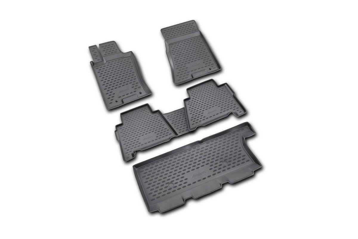 Набор автомобильных ковриков Novline-Autofamily для Kia Mohave 10/2009-, в салон, 5 штNLC.25.29.210kНабор автомобильных ковриков Novline-Autofamily, изготовленный из полиуретана, состоит из 5 ковриков, которые учитывают все особенности каждой модели автомобиля и полностью повторяют контуры пола. Полиуретановые автомобильные коврики для салона произведены из высококачественного материала, который держит форму, прочный и не пачкает обувь. Коврики в салон не только улучшат внешний вид салона вашего автомобиля, но и надежно уберегут его от пыли, грязи и сырости, а значит, защитят кузов от коррозии. Полиуретановые коврики для автомобиля гладкие, приятные и не пропускают влагу. Ковры для автомобилей надежно крепятся на полу и не скользят, что очень важно во время движения. Чистятся коврики очень просто: как при помощи автомобильного пылесоса, так и различными моющими средствами. Набор подходит для Kia Mohave с октября 2009 года выпуска.