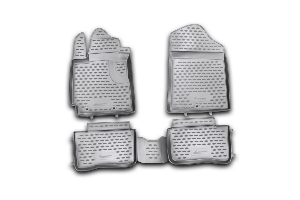 Набор автомобильных ковриков Novline-Autofamily для Kia Picanto 2011-, в салон, 4 штNLC.25.36.210hНабор автомобильных ковриков Novline-Autofamily, изготовленный из полиуретана, состоит из 4 ковриков, которые учитывают все особенности каждой модели автомобиля и полностью повторяют контуры пола. Полиуретановые автомобильные коврики для салона произведены из высококачественного материала, который держит форму, прочный и не пачкает обувь. Коврики в салон не только улучшат внешний вид салона вашего автомобиля, но и надежно уберегут его от пыли, грязи и сырости, а значит, защитят кузов от коррозии. Полиуретановые коврики для автомобиля гладкие, приятные и не пропускают влагу. Ковры для автомобилей надежно крепятся на полу и не скользят, что очень важно во время движения. Чистятся коврики очень просто: как при помощи автомобильного пылесоса, так и различными моющими средствами. Набор подходит для Kia Picanto с 2011 года выпуска.