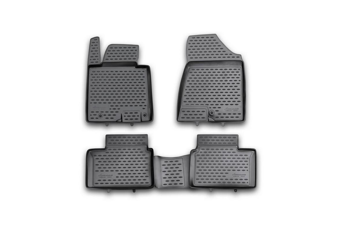 Набор автомобильных ковриков Novline-Autofamily для Kia Ceed 2012-, в салон, цвет: черный, 4 штNLC.25.43.210Набор автомобильных ковриков Novline-Autofamily, изготовленный из полиуретана, состоит из 4 ковриков, которые учитывают все особенности каждой модели автомобиля и полностью повторяют контуры пола. Полиуретановые автомобильные коврики для салона произведены из высококачественного материала, который держит форму, прочный и не пачкает обувь. Коврики в салон не только улучшат внешний вид салона вашего автомобиля, но и надежно уберегут его от пыли, грязи и сырости, а значит, защитят кузов от коррозии. Полиуретановые коврики для автомобиля гладкие, приятные и не пропускают влагу. Ковры для автомобилей надежно крепятся на полу и не скользят, что очень важно во время движения. Чистятся коврики очень просто: как при помощи автомобильного пылесоса, так и различными моющими средствами. Набор подходит для Kia Ceed с 2012 года выпуска.