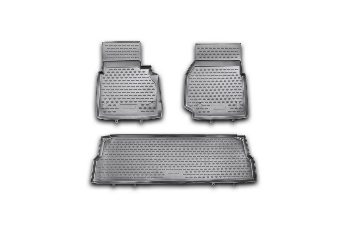 Набор автомобильных ковриков Novline-Autofamily для Land Rover Defender 110 5D 2007-, в салон, 3 штNLC.28.08.210khНабор автомобильных ковриков Novline-Autofamily, изготовленный из полиуретана, состоит из 3 ковриков, которые учитывают все особенности каждой модели автомобиля и полностью повторяют контуры пола. Полиуретановые автомобильные коврики для салона произведены из высококачественного материала, который держит форму, прочный и не пачкает обувь. Коврики в салон не только улучшат внешний вид салона вашего автомобиля, но и надежно уберегут его от пыли, грязи и сырости, а значит, защитят кузов от коррозии. Полиуретановые коврики для автомобиля гладкие, приятные и не пропускают влагу. Ковры для автомобилей надежно крепятся на полу и не скользят, что очень важно во время движения. Чистятся коврики очень просто: как при помощи автомобильного пылесоса, так и различными моющими средствами. Набор подходит для Land Rover Defender 110 5D с 2007 года выпуска.