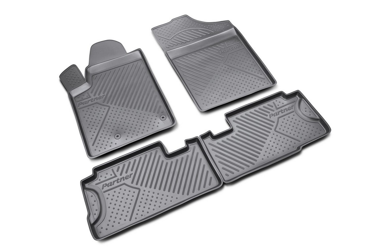 Коврики в салон автомобиля Novline-Autofamily для Peugeot Partner 06/2008 -, 4 штNLC.38.09.210Коврики Novline-Autofamily улучшат внешний вид салона автомобиля и надежно уберегут его от пыли, грязи и сырости, а значит, защитят кузов от коррозии. Полиуретановые коврики гладкие, приятные и не пропускает влагу. Полиуретановые автомобильные коврики произведены из высококачественного материала, который держит форму и не пачкает обувь. Коврики надежно крепятся на полу и не скользят, что очень важно во время движения, особенно для водителя. Изделия из полиуретана надежно удерживают грязь и влагу, при этом всегда выглядят довольно опрятно. И чистятся они очень просто: как при помощи автомобильного пылесоса, так и различными моющими средствами.