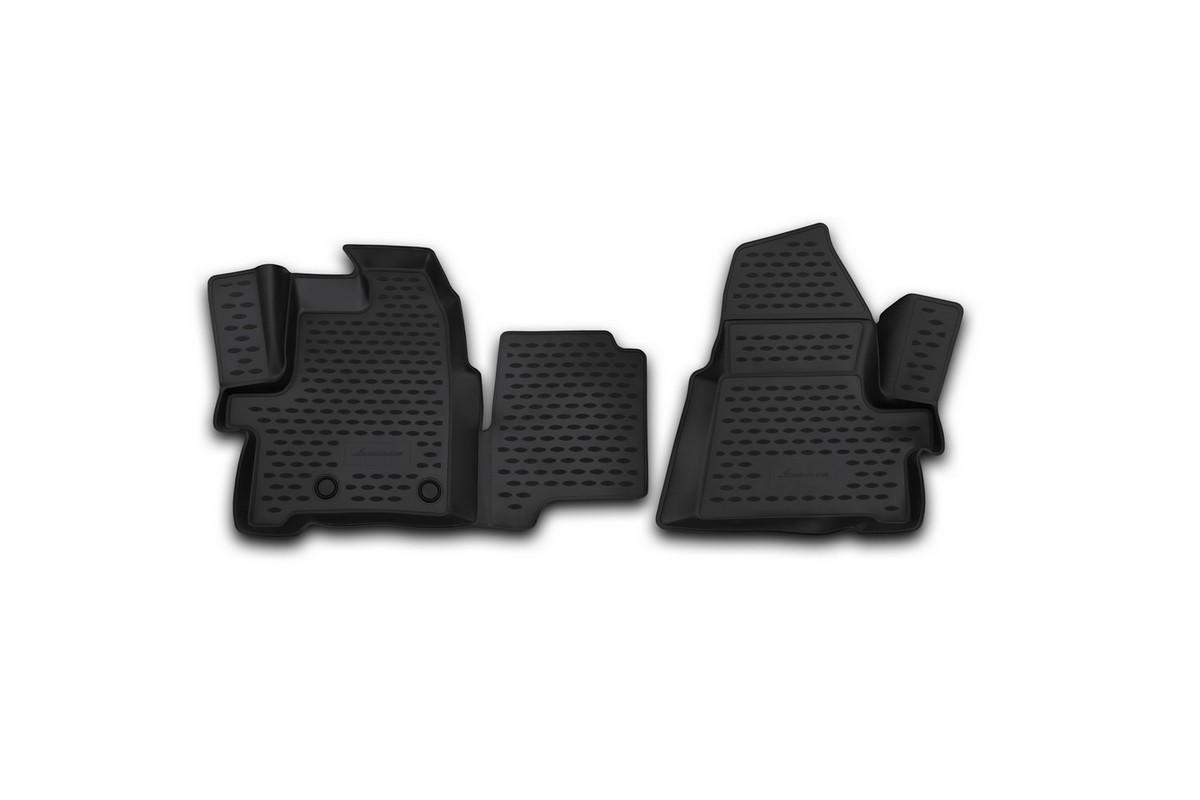 Набор автомобильных 3D-ковриков Novline-Autofamily для Ford Tourneo Custom, 2014->, в салон, 2 штNLC.3D.16.53.210kfНабор Novline-Autofamily состоит из 2 ковриков, изготовленных из полиуретана.Основная функция ковров - защита салона автомобиля от загрязнения и влаги. Это достигается за счет высоких бортов, перемычки на тоннель заднего ряда сидений, элементов формы и текстуры, свойств материала, а также запатентованной технологией 3D-перемычки в зоне отдыха ноги водителя, что обеспечивает дополнительную защиту, сохраняя салон автомобиля в первозданном виде.Материал, из которого сделаны коврики, обладает антискользящими свойствами. Для фиксации ковров в салоне автомобиля в комплекте с ними используются специальные крепежи. Форма передней части водительского ковра, уходящая под педаль акселератора, исключает нештатное заедание педалей.Набор подходит Ford Tourneo Custom c 2014 года выпуска.
