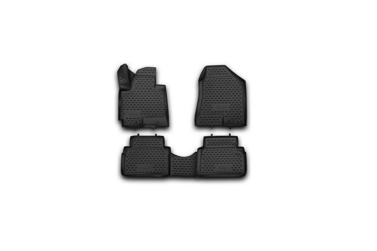 Набор автомобильных 3D-ковриков Novline-Autofamily для Hyundai ix35, 2010->, в салон, 4 штNLC.3D.20.36.210kНабор Novline-Autofamily состоит из 4 ковриков, изготовленных из полиуретана.Основная функция ковров - защита салона автомобиля от загрязнения и влаги. Это достигается за счет высоких бортов, перемычки на тоннель заднего ряда сидений, элементов формы и текстуры, свойств материала, а также запатентованной технологией 3D-перемычки в зоне отдыха ноги водителя, что обеспечивает дополнительную защиту, сохраняя салон автомобиля в первозданном виде.Материал, из которого сделаны коврики, обладает антискользящими свойствами. Для фиксации ковров в салоне автомобиля в комплекте с ними используются специальные крепежи. Форма передней части водительского ковра, уходящая под педаль акселератора, исключает нештатное заедание педалей.Набор подходит для Hyundai ix35 с 2010 года выпуска.