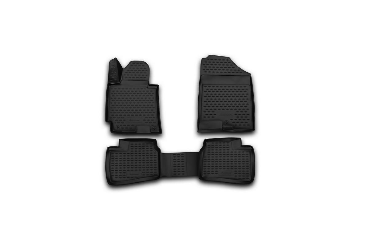 Набор автомобильных 3D-ковриков Novline-Autofamily для Hyundai Elantra, 2014->, в салон, 4 шт. NLC.3D.20.55.210NLC.3D.20.55.210Набор Novline-Autofamily состоит из 4 ковриков, изготовленных из полиуретана.Основная функция ковров - защита салона автомобиля от загрязнения и влаги. Это достигается за счет высоких бортов, перемычки на тоннель заднего ряда сидений, элементов формы и текстуры, свойств материала, а также запатентованной технологией 3D-перемычки в зоне отдыха ноги водителя, что обеспечивает дополнительную защиту, сохраняя салон автомобиля в первозданном виде.Материал, из которого сделаны коврики, обладает антискользящими свойствами. Для фиксации ковров в салоне автомобиля в комплекте с ними используются специальные крепежи. Форма передней части водительского ковра, уходящая под педаль акселератора, исключает нештатное заедание педалей.Набор подходит для Hyundai Elantra с 2014 года выпуска.