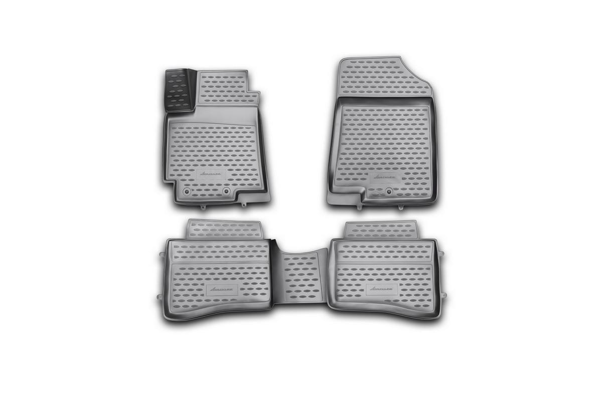 Набор автомобильных 3D-ковриков Novline-Autofamily для Kia Rio, 2011->, в салон, 4 штNLC.3D.25.38.210hНабор Novline-Autofamily состоит из 4 ковриков, изготовленных из полиуретана.Основная функция ковров - защита салона автомобиля от загрязнения и влаги. Это достигается за счет высоких бортов, перемычки на тоннель заднего ряда сидений, элементов формы и текстуры, свойств материала, а также запатентованной технологией 3D-перемычки в зоне отдыха ноги водителя, что обеспечивает дополнительную защиту, сохраняя салон автомобиля в первозданном виде.Материал, из которого сделаны коврики, обладает антискользящими свойствами. Для фиксации ковров в салоне автомобиля в комплекте с ними используются специальные крепежи. Форма передней части водительского ковра, уходящая под педаль акселератора, исключает нештатное заедание педалей.Набор подходит для Kia Rio с 2011 года выпуска.